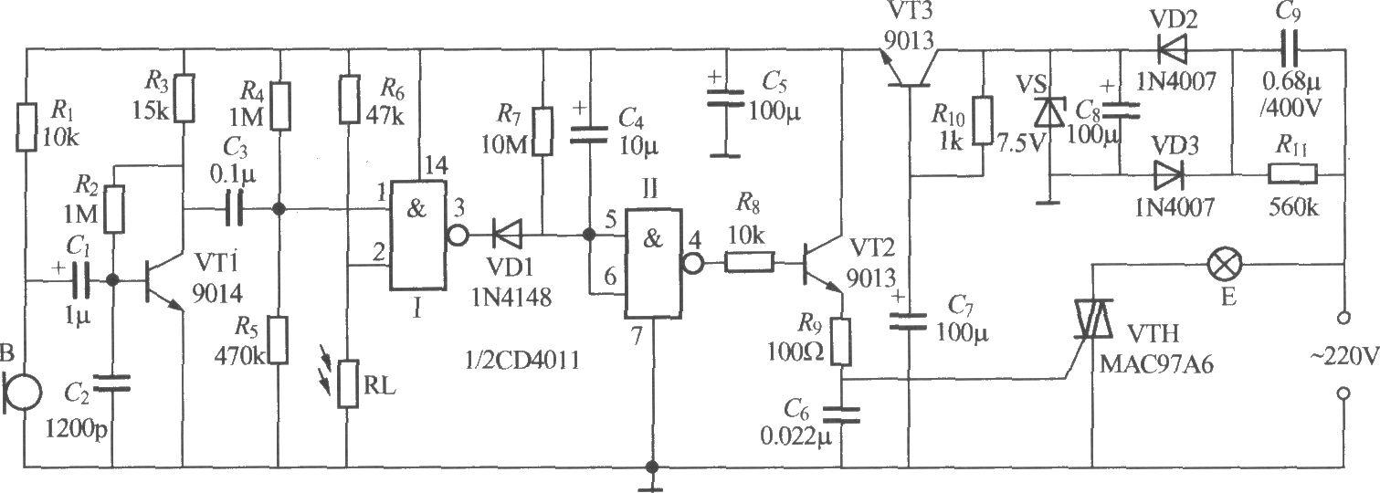 非二线制声光控楼梯延迟开关电路(4)
