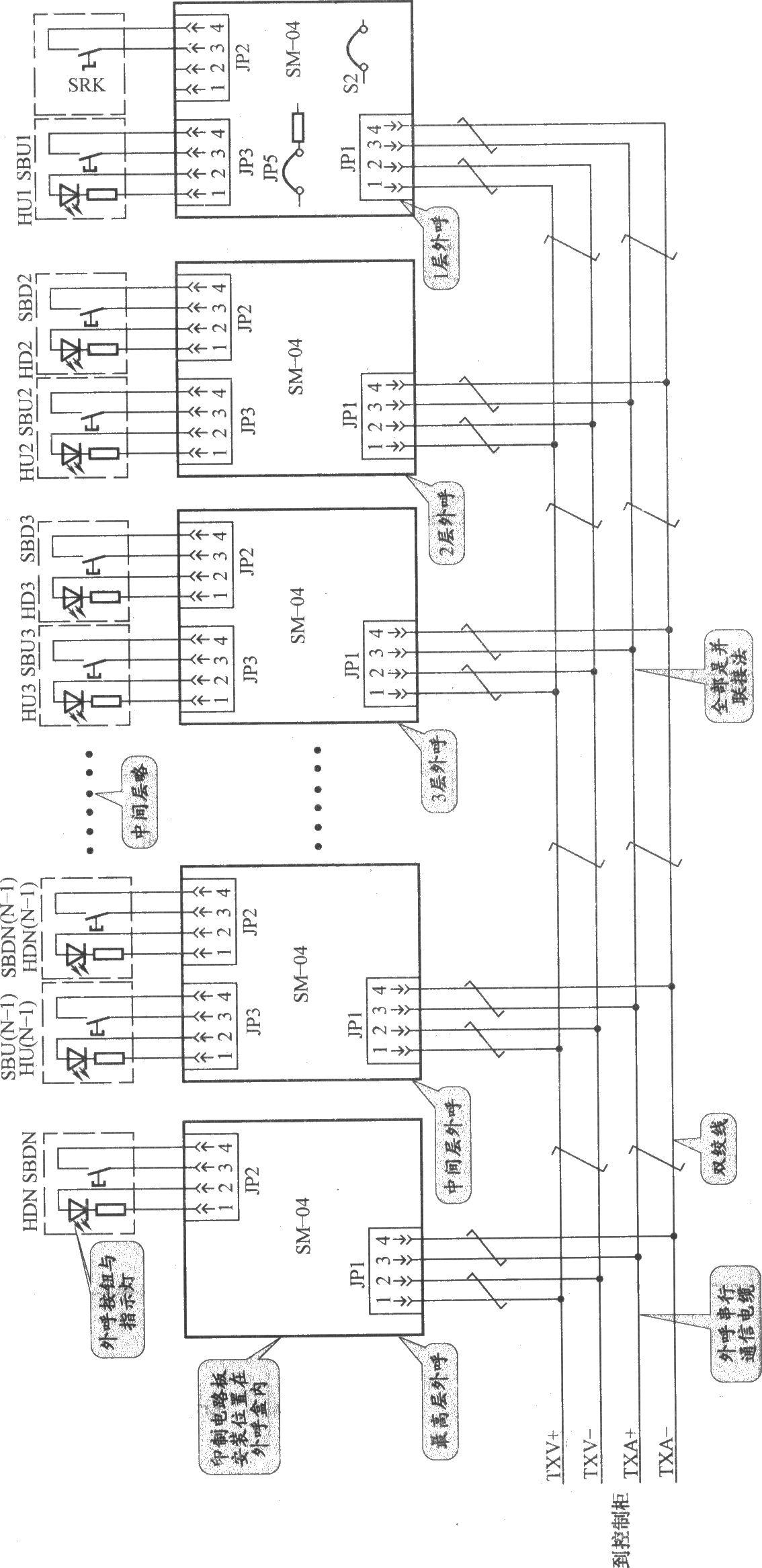 上海新时达电梯外呼按钮接线电路(sm-01-c+变频器)