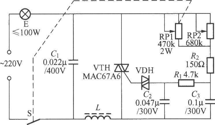 实用的双向晶闸管调光灯电路图片