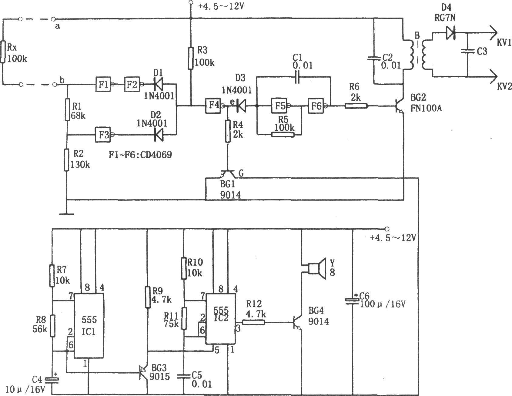、变压器B主要用来作为驱动级。电路中,当a、b间出现断路或短路时,权电阻Rx的阻值增大或减小,导致F4非门电路(e点)输出高电平,从而使管子BG1导通,将音响电路接通,发出双音报警信号。同时,因管子D3截止,由F5、F6等组成的音频振荡器开始振荡,其振荡频率约为3000Hz,该信号经由BG2管和升压变压器B组成的放大器后,得到升压并进行整流,最后得到近万伏的高压,以电击行窃者。 在由555和晶体管等元件组成的多谐振荡音响电路中,由IC1等元件组成的多谐振荡器的振荡频率约为1Hz,充放电电容器C4与脚相接,