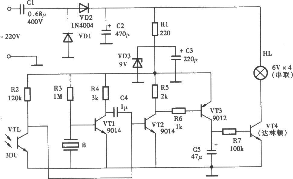 声光双控指示灯电路图片