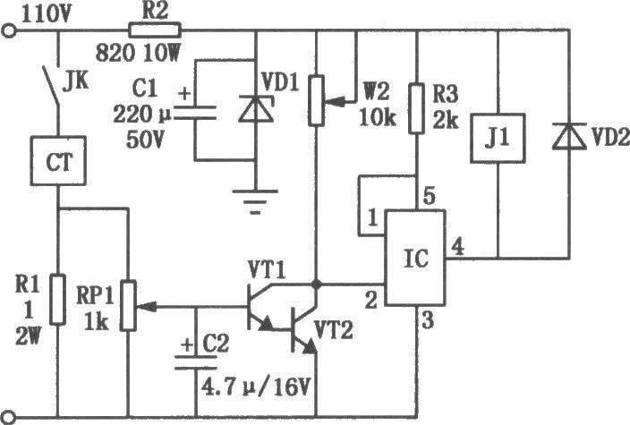 本电路图所用到的元器件: TTWH8751 9013 3D12  电路如图所示,+24V电源是由电磁吸盘110V电源降压取得。当电磁吸盘电路动合触点JK闭合后,电磁吸盘CT通电工作,其额定电流约为l.4A(强力磁盘电流会更大些)。此时串联在电磁吸盘电路中的取样电阻Rl上将有1.4V的电压降,再经过取样电位器RPl取样后加在晶体管VTl的输入回路,由VTl、VT2进行复合放大。VTl、VT2复合后的放大倍数很高,VT2集电极电位变化接近于阶跃信号,使功率开关集成电路IC能迅速导通或截止。正常时来自取样电路的