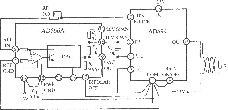 ad694采用±15v双电源供电,并给ad566a提供基准电压.