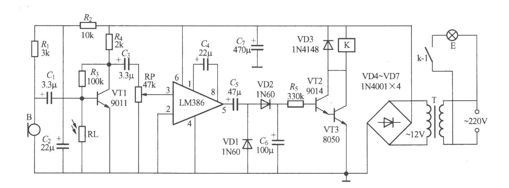 非二线制声光控楼梯延迟开关电路(1)
