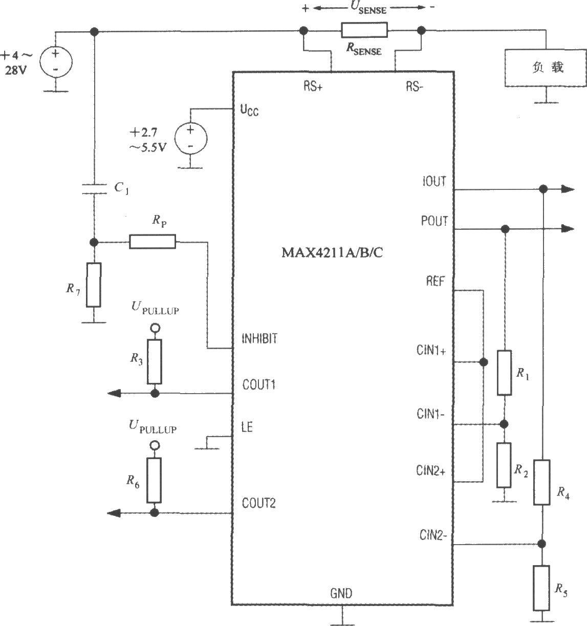 图中,upullup为比较器1和比较器2的上拉电源.rsense为电流检测电阻.