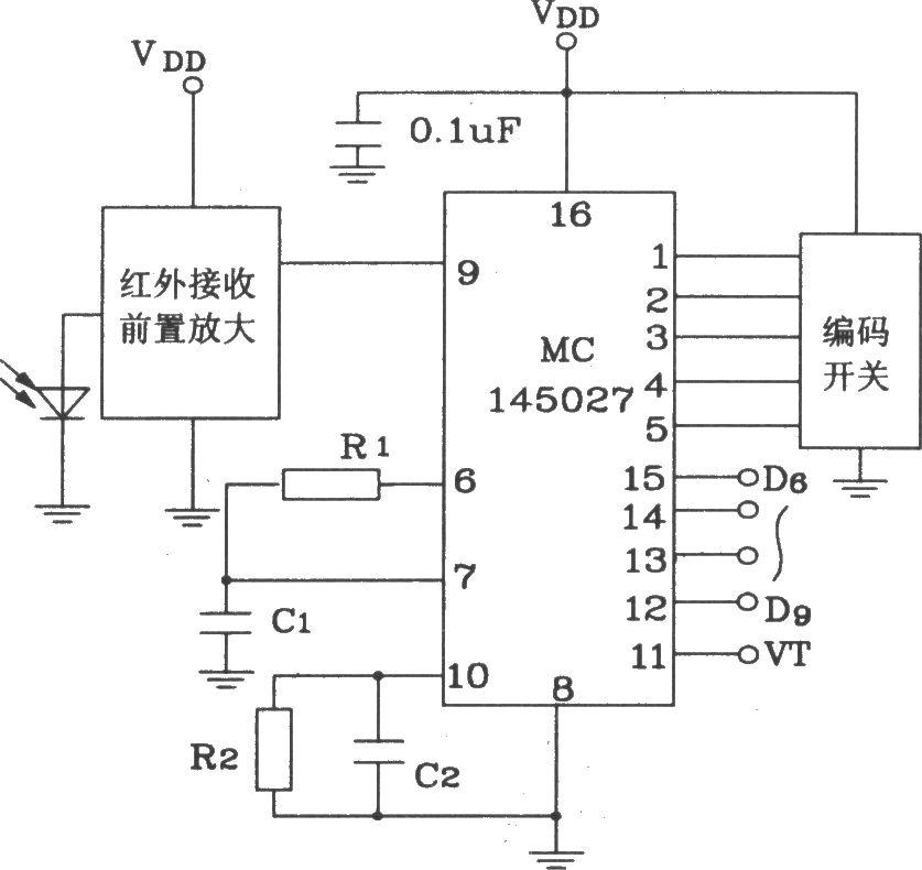 mc145026/145027构成红外发射,接收电路图