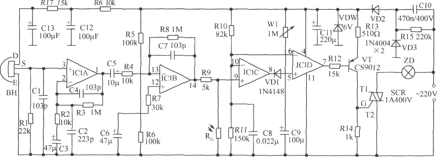 ic1为四运算放大器lm324,传感器bh为rs03,若选用其他类型的传感器时应