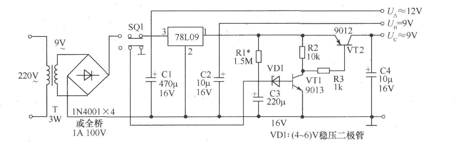 热释电红外传感器组成的报警电路