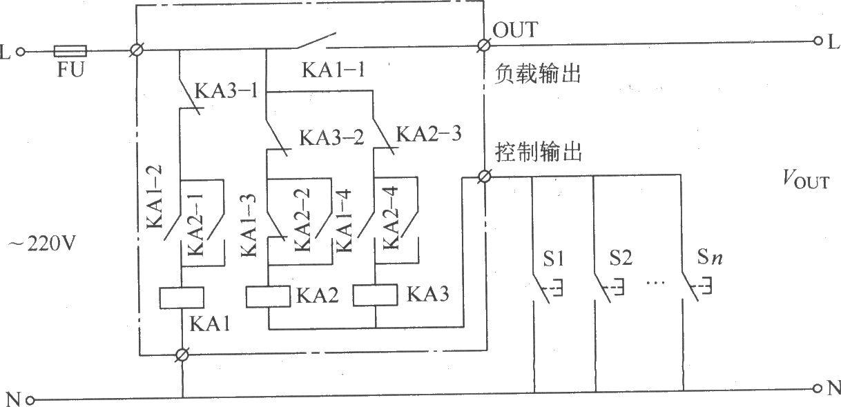 本例介绍的多地控制开关,可在多个地方任意接通或断开某部分负载(用电设备)的工作电源。该开关既可用于楼道、走廊、公共场所的照明灯控制,也能用于工业生产(在工厂车间的多个地方控制一套生产设备)。 该多地控制开关电路由中间继电器KA1~KA3和S1~Sn组成,如图所示。  多地控制开关电路电路(四) 若需要控制功率较大的负载,可将KA1换成交流接触器。元器件选择 S1~Sn均选用动合(常开)按钮。KA1~KA3均选用220V交流中间继电器。