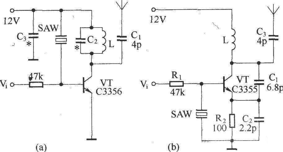 由声表面波谐振器(saw)组成的基本无线电发射电路