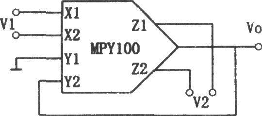 如图所示为除法电路。该电路用乘除法器集成电路MPY100组成。输入信号为V1、V2,输出Vo为 Vo=10V2/V1。 这种除法器是将乘法器接在运算放大器的反院回路组成的。V1的输入范围为-0.2V到10V,V2的输入范围为-10V到10V。电路的误差在V1很小时比较大。