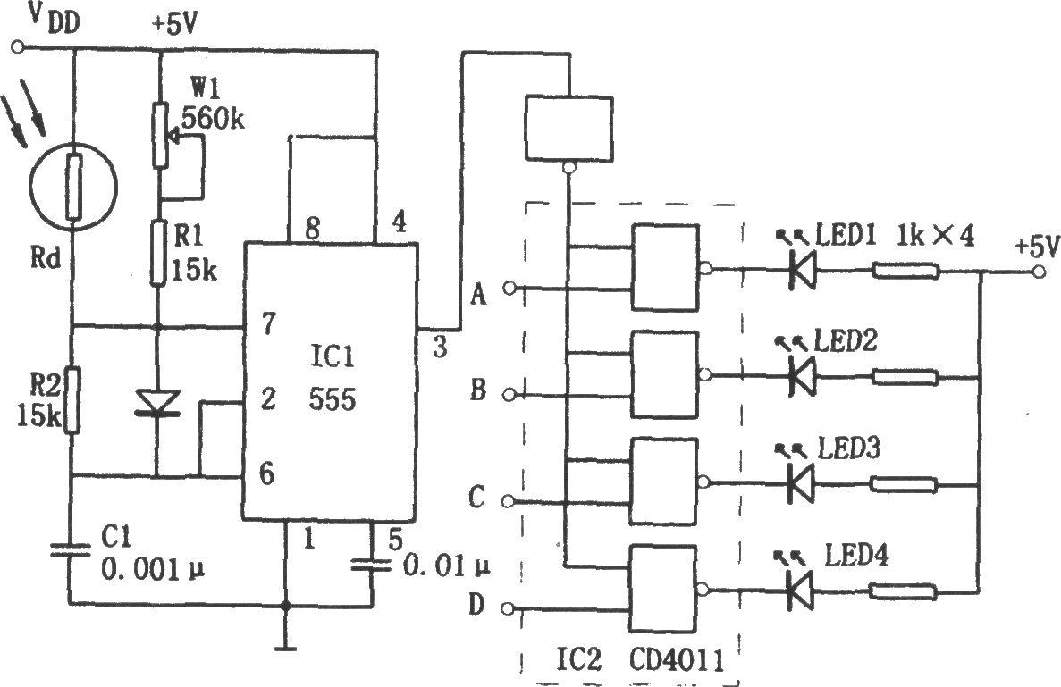 555构成的亮度显示电路