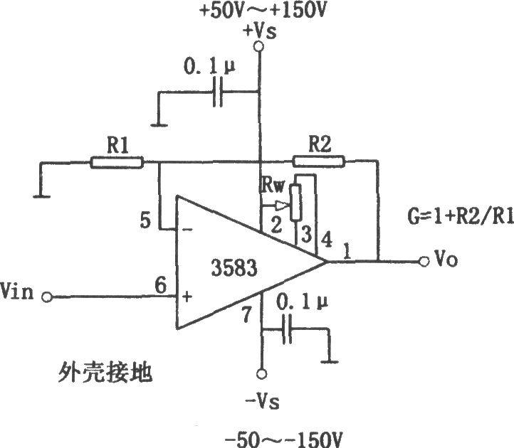 如图所示为高压输出的放大电路。高运算放大器3583芯片电源电压范围是50~150V,输出电压Vo的范围是40~140V。由电路可知,其电压放大倍数Av=1 R2/R1,输出电流最大可达75mA。在3583集成芯片内部设计有过热关断保护电路,当输出端对地短路时可保护集成芯片不会被损坏。正负电源端对地应连接去耦电容,其值约为0.