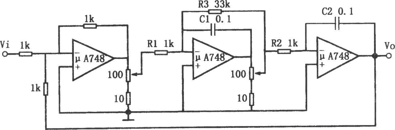 频率可调的带通滤波器(μa748)