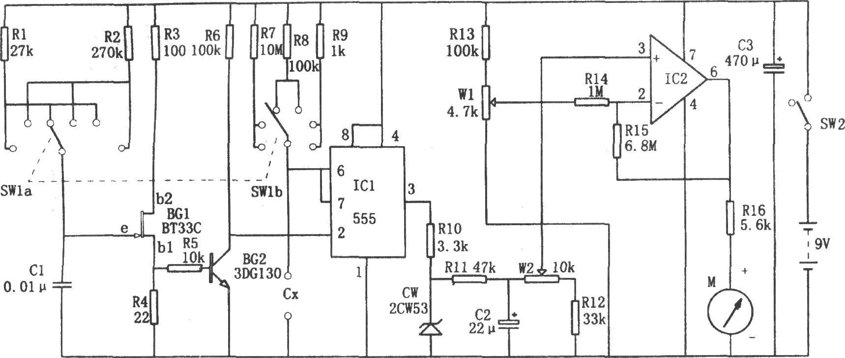 单稳态触发器、直流放大器和表头指示电路等组成.它可测量npF~图片