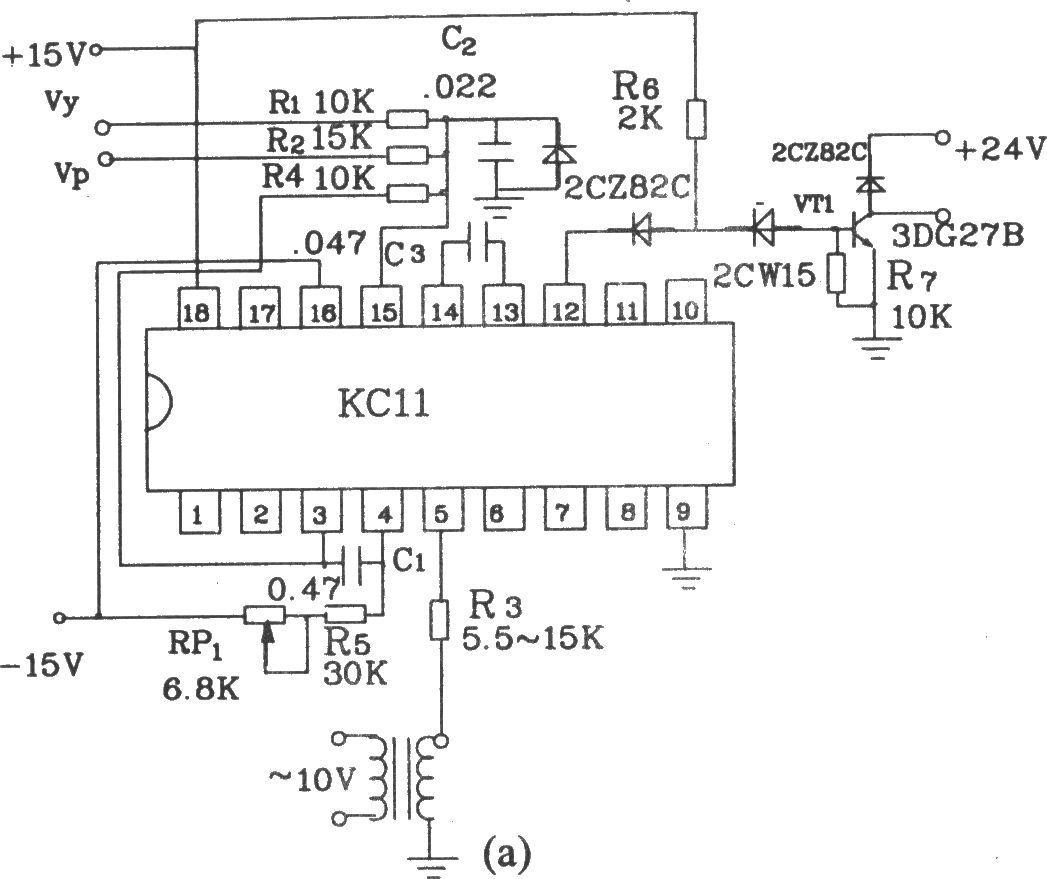 可控硅移相触发器KCll是KC01的改进型,适用在各种供电装置中作可控硅的单路脉冲移相触发。触发器具有线路简单、移相线性度好、抗干扰性能好、移相范围宽、能宽脉冲触发等优点。可以在单相、三相半控桥式供电装置中作移相触发使用。 电参数如下:电源电压:直流 15V,-l5V,允许波动5%(10%功能正常)。电源电流:正电流15mA。同步电压:任意值(一般l0V左右)。移相范围:l70。锯齿波幅度:l0V(幅度以锯齿波出现平顶为准)。输出脉冲:a.脉冲宽度:l00µs~3.
