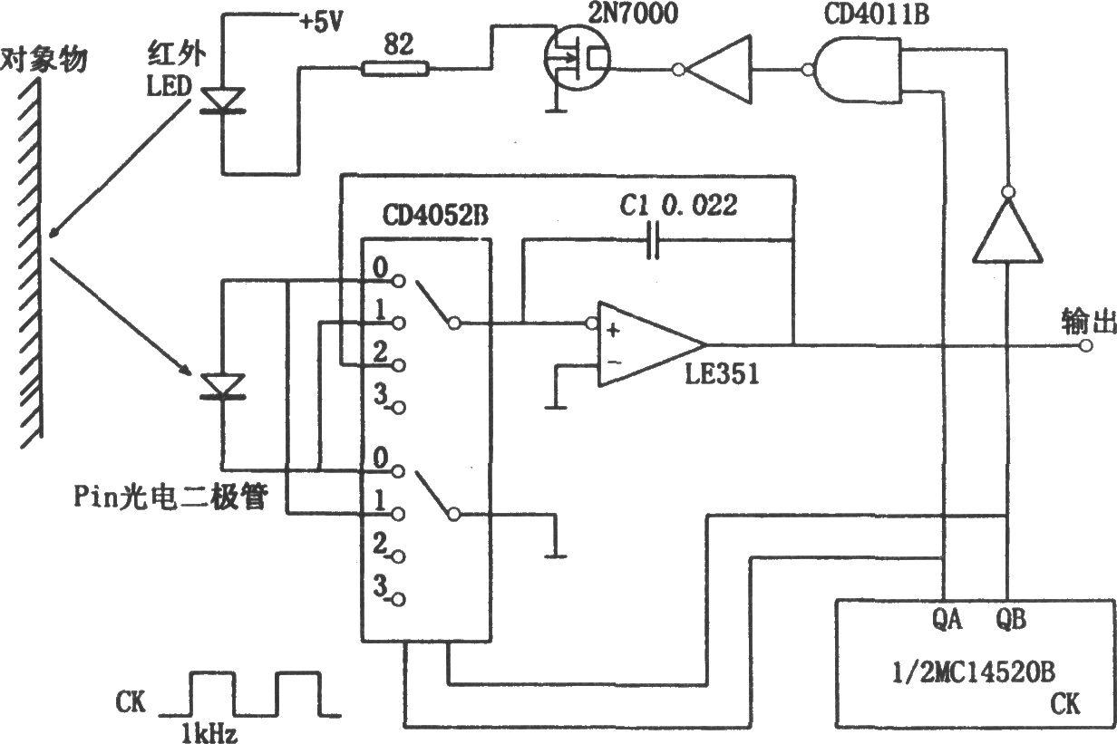 反射光强度的检测电路(cd4052b,cd4011b) 专用测量
