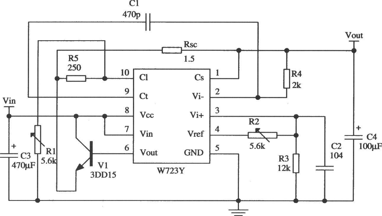 w723的低电压限流扩流应用电路
