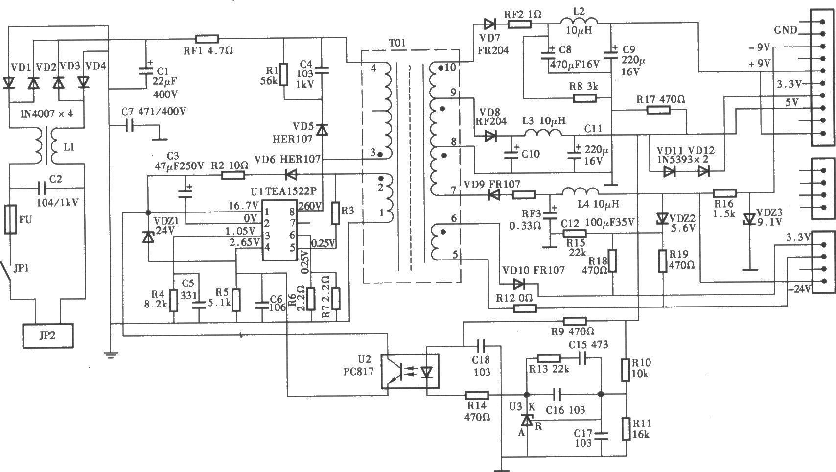 电路                   飞利浦703型dvd机开关电源(uc3842a) 电路