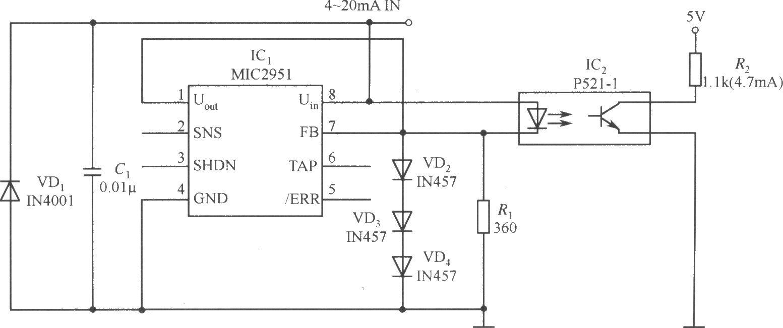 mic2951构成的4~20ma的电流环开路探测器电路