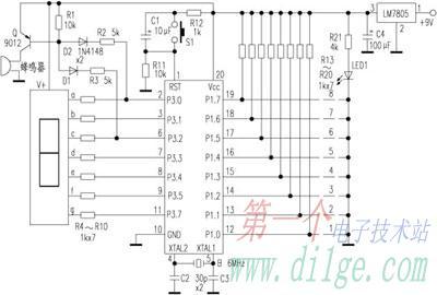 用89c2051制作八路断线数显报警器