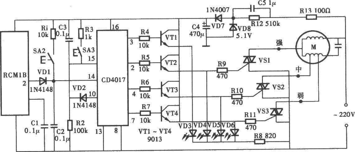 无线电遥控风扇调速器电路